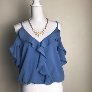 Baby blue blouse, off shoulders blouse